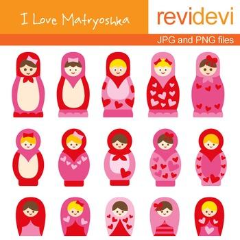 Clip art: Pink Red Russian Dolls (I Love Matryoshka 07017)