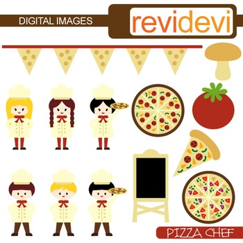 Clip art Pizza Party (little chef, boys, girls)