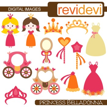 Clip art Princess pink orange (girl, tiara, dress) fairyta