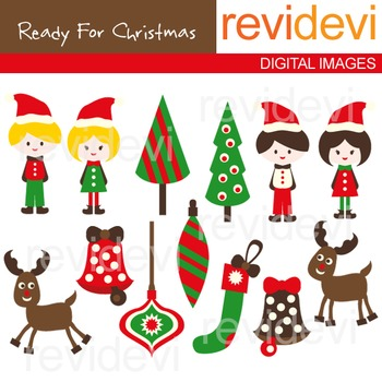 Clip art Ready For Christmas (kids, trees, rudolph the rei