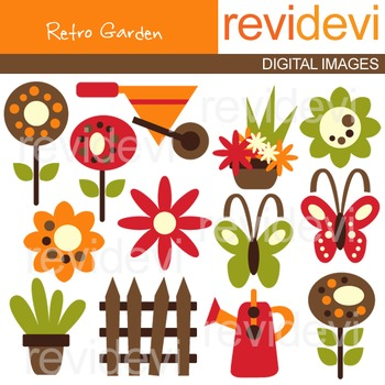 Clip art Retro Garden 07213 (gardening tools, flowers, but