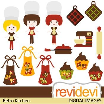 Kitchen clip art: chef, apron, kitchen utensils