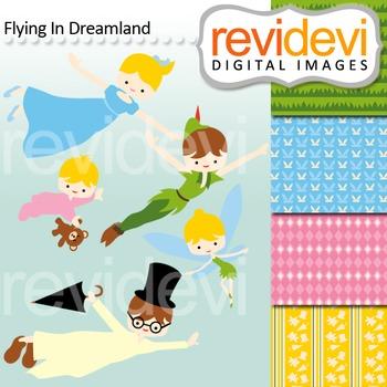 Clip art Slumber night flying kids (wendy, tinkerbel,peter