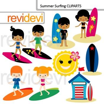 Clip art Surfs up - summer surfing - kids with surf boards