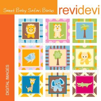 Clip art Sweet Baby Safari Blocks (animals) 07220