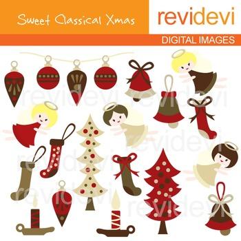 Clip art Sweet Classical Xmas (Christmas, marroon, angels,
