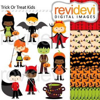Clip art Trick or Treat Kids (boys and girls in halloween