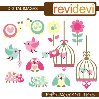 Clip art birdcage, birds, owls, snails, ladybugs
