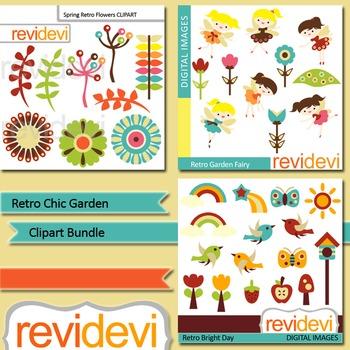 Clip art bundle (3 packs) Retro Chic Garden