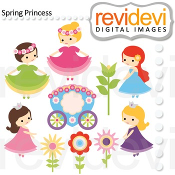 Clip art: cute girls, flowers (spring princess)