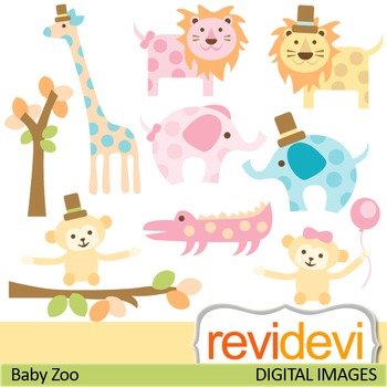 Clip art cute polkadot zoo animals in pastel colors