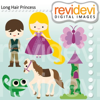 Clip art: prince charming and long hair princess