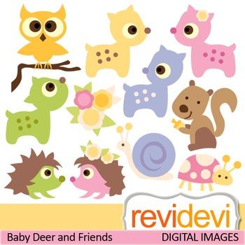 Clip art woodland pastel animals (deers, hedgehog, owl, sq