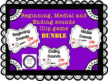 Clip game BUNDLE! Beginning, Medial, Ending Sounds games i