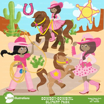 Clipart, All American Cowgirls clip arts, African American