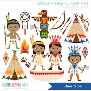 Clipart - American Indian Tribe (Aztec, Navajo, Tribal kids)