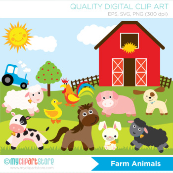 Clipart - Animals at the Farm / Farmer and the dell / nurs