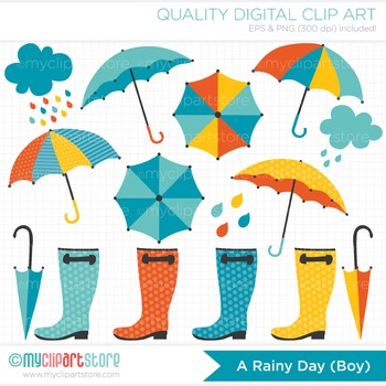 Clipart - April Showers / Rainy Day (Boy) / Seasons