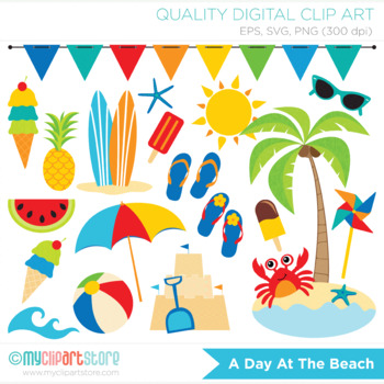 Clipart - At The Beach / Surf / Surfing / Summer Vacation