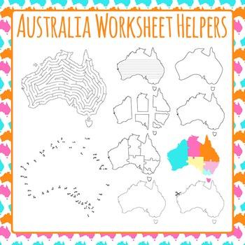 Australia Worksheet Helpers Clip Art Pack for Commercial Use