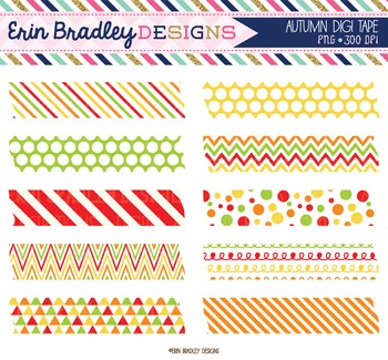 Clipart - Autumn Washi Tape Graphics