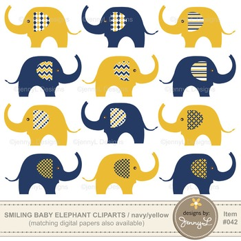 Clipart: Baby Elephant, Navy Blue and Yellow Colors