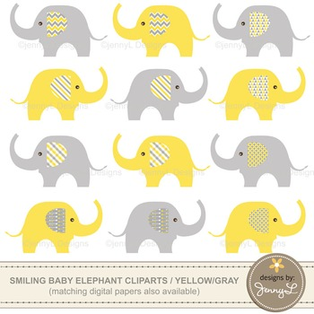 Clipart: Baby Elephant, Yellow and Gray Colors