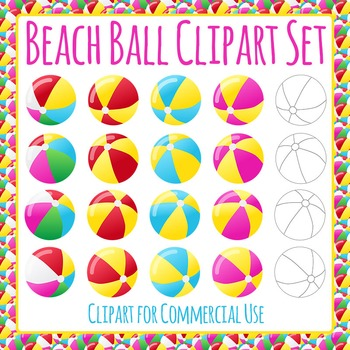 Beach Balls Clip Art Pack for Commercial Use