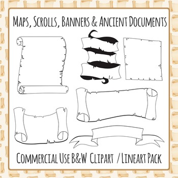 Scrolls, Maps, Banners and Ancient Documents (Black and Wh