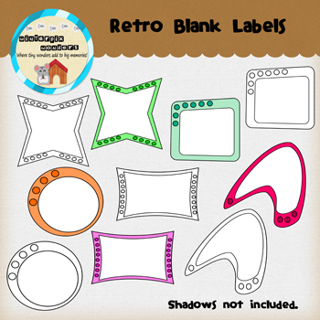 Clipart: Blank Retro Labels
