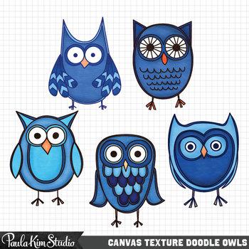 Clipart - Blue Canvas Owls