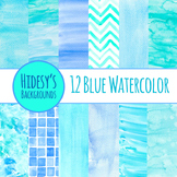 Watercolor Blue Handpainted Backgrounds Clip Art for Comme