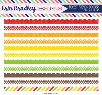 Clipart Borders - Red Green Orange Yellow Brown Scalloped