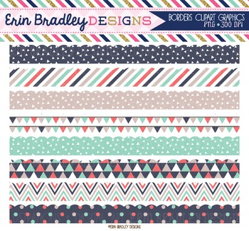 Scalloped Clipart Borders - Triangles Collection