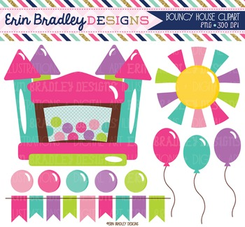 Clipart - Bounce House Girls Bunting Balloons and Sun Digi