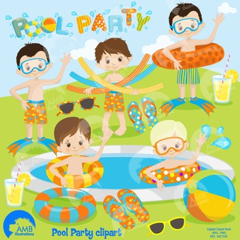Clipart, Boys Pool party, Party Clipart, Digital Download,