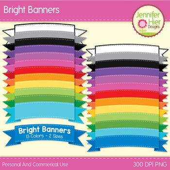 Clipart: Bright Banners Clip Art for TPT Cover Designs and