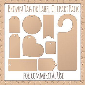 Brown Paper Tags or Labels Clip Art Pack for Commercial Use