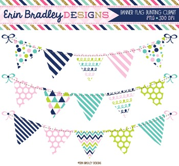 Clipart Bunting Navy Blue Pink & Green