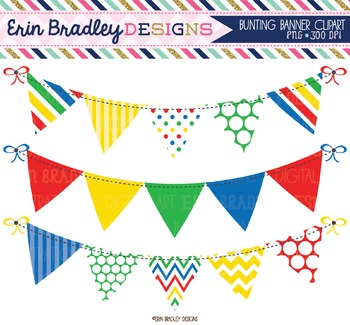Clipart Bunting - Primary Colors