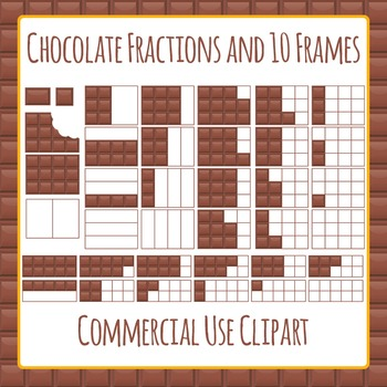 Ten Frames and Fractions Chocolate Theme Clip Art Pack for