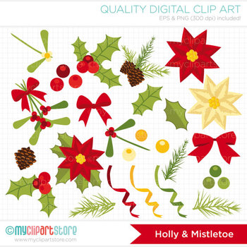 Clipart - Christmas Elements / Holly and Mistletoe / Floral