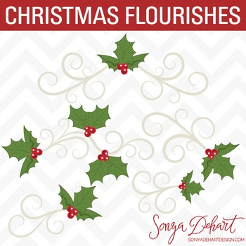 Clipart - Christmas Flourishes with Holly and Berries