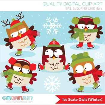 Clipart - Christmas Owls on Skates