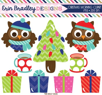 Clipart - Christmas Owls Presents Tree and Coffee Mugs Dig
