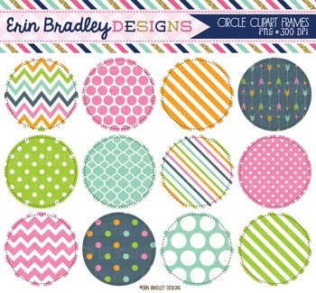 Clipart - Circles Digital Frames Graphics in Pink Blue Gre