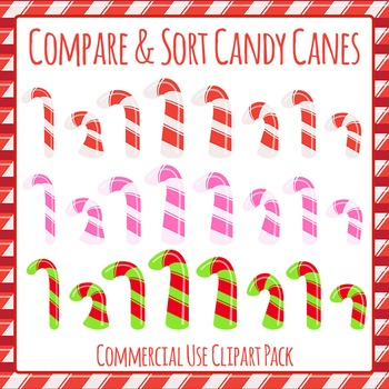 Christmas Candy Canes - Compare and Sort Clip Art Pack for