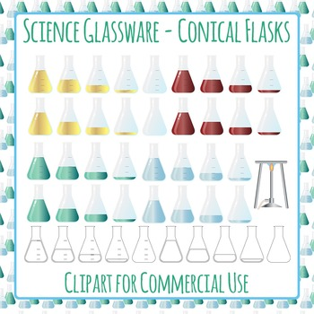 Chemistry Conical Flasks Clip Art Pack for Commercial Use
