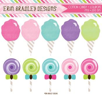 Clipart - Cotton Candy & Lollipops Graphics