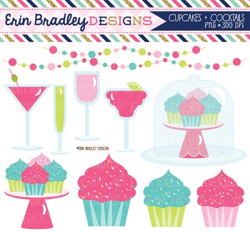 Clipart - Cupcakes and Cocktails Bunting and Beverages Dig